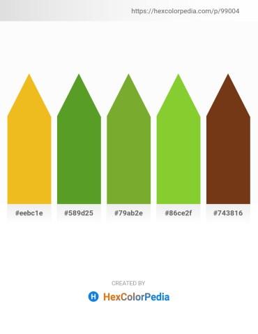 Palette image download - Goldenrod – Olive Drab – Olive Drab – Yellow Green – Saddle Brown