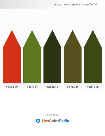 Palette image download - Crimson – Olive Drab – Dark Olive Green – Dark Olive Green – Dark Olive Green