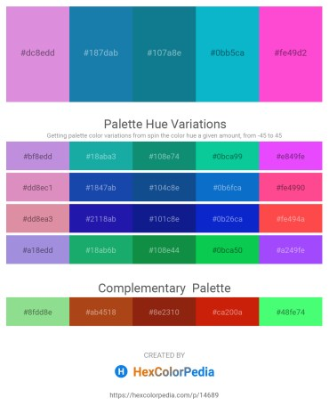 Palette image download - Medium Orchid – Forest Green – Dark Cyan – Dark Turquoise – Hot Pink