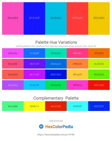 Palette image download - Hot Pink – Blue – Dark Turquoise – Tomato – Gold
