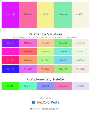 Palette image download - Dark Violet – Hot Pink – Khaki – Light Green – Beige