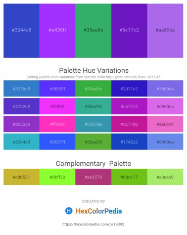 Palette image download - Royal Blue – Dark Violet – Medium Sea Green – Blue Violet – Medium Slate Blue
