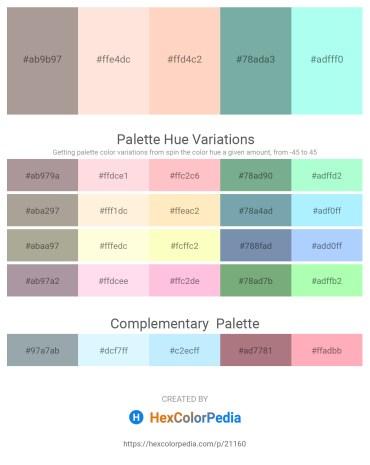 Palette image download - Dark Gray – Misty Rose – Peach Puff – Cadet Blue – Aquamarine