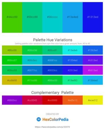 Palette image download - Lawn Green – Medium Spring Green – Dark Turquoise – Dodger Blue – Blue