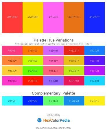 Palette image download - Tomato – Gold – Hot Pink – Chocolate – Blue