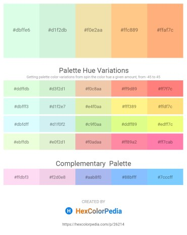 Palette image download - Honeydew – Pale Turquoise – Pale Goldenrod – Light Salmon – Light Salmon