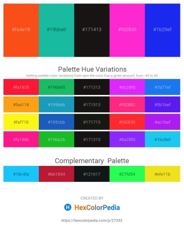 Palette image download - Orange Red – Light Sea Green – Black – Deep Pink – Blue