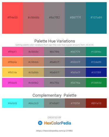 Palette image download - Tomato – Indian Red – Gray – Slate Gray – Dark Cyan