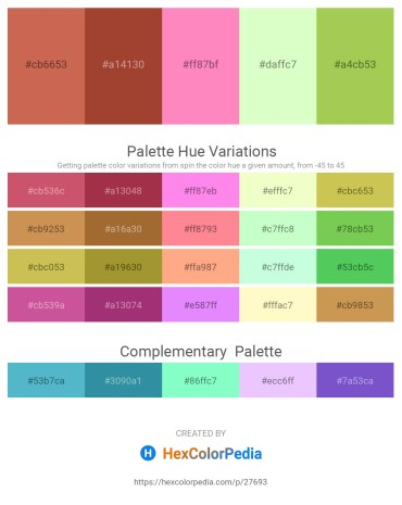 Palette image download - Indian Red – Sienna – Hot Pink – Honeydew – Yellow Green