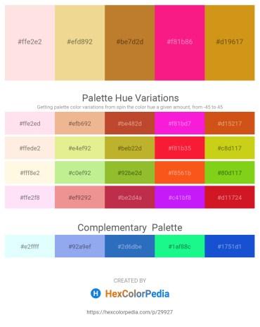 Palette image download - Misty Rose – Khaki – Peru – Deep Pink – Goldenrod