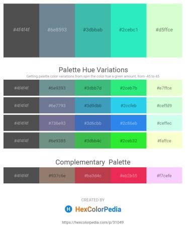 Palette image download - Dim Gray – Slate Gray – Medium Turquoise – Turquoise – Honeydew