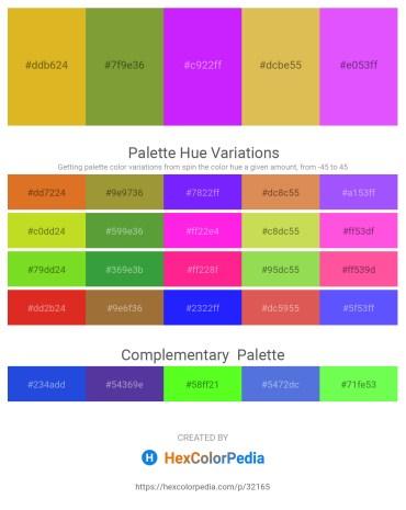 Palette image download - Goldenrod – Olive Drab – Dark Violet – Burlywood – Medium Slate Blue