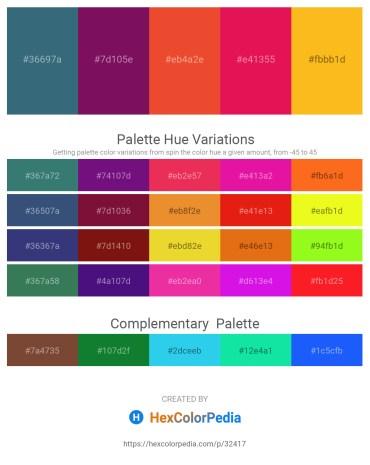 Palette image download - Forest Green – Purple – Chocolate – Crimson – Orange