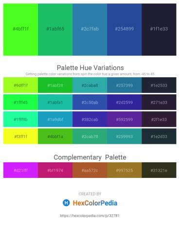 Palette image download - Lawn Green – Dark Slate Gray – Steel Blue – Midnight Blue – Lime