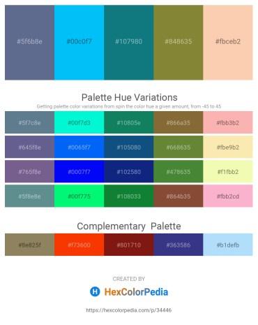 Palette image download - Slate Gray – Deep Sky Blue – Teal – Dark Olive Green – Peach Puff