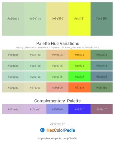 Palette image download - Dark Sea Green – Beige – Pale Goldenrod – Yellow – Cadet Blue