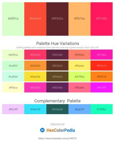 Palette image download - Honeydew – Tomato – Brown – Light Salmon – Deep Pink
