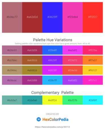 Palette image download - Rosy Brown – Brown – Blue – Deep Pink – Orange Red