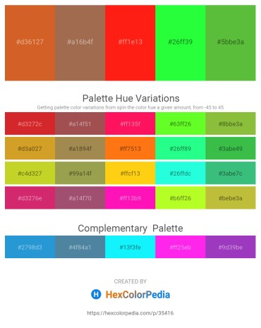 Palette image download - Chocolate – Sienna – Red – Lime – Lime Green