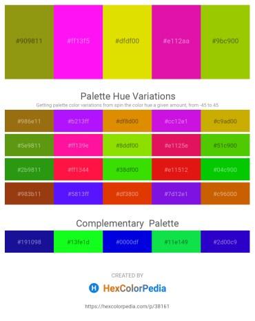 Palette image download - Dark Goldenrod – Magenta – Gold – Medium Violet Red – Lawn Green