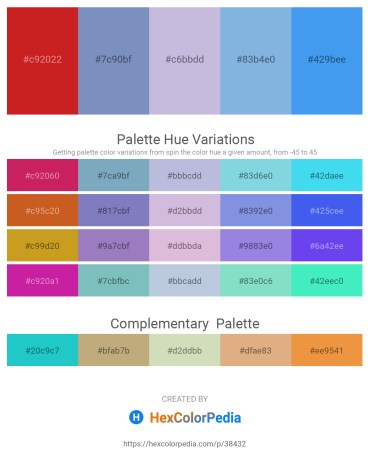 Palette image download - Firebrick – Indigo – Light Steel Blue – Sky Blue – Cornflower Blue