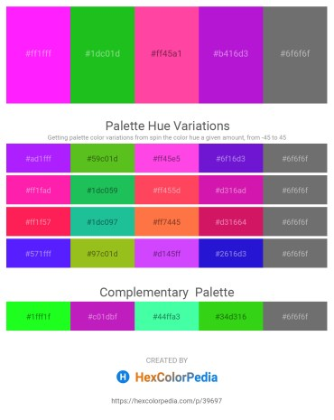 Palette image download - Magenta – Lime Green – Hot Pink – Blue Violet – Dim Gray