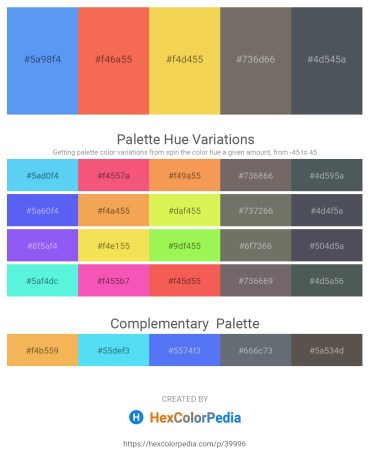 Palette image download - Cornflower Blue – Tomato – Olive Drab – Dim Gray – Dark Slate Gray