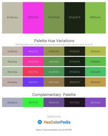 Palette image download - Silver – Magenta – Dark Olive Green – Dark Slate Gray – Yellow Green