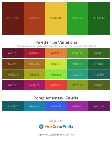 Palette image download - Saddle Brown – Firebrick – Goldenrod – Forest Green – Forest Green