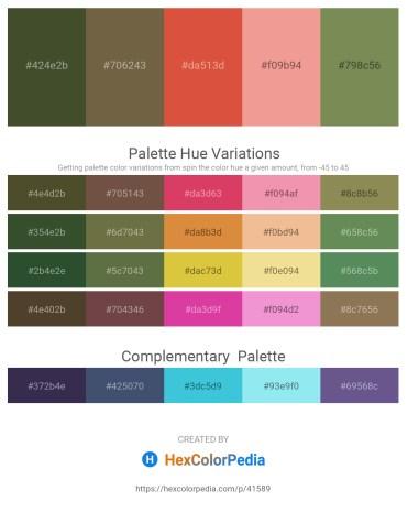Palette image download - Dark Olive Green – Dark Olive Green – Chocolate – Light Coral – Dark Olive Green