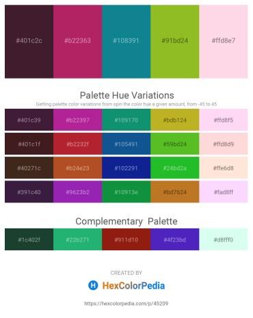 Palette image download - Midnight Blue – Medium Violet Red – Dark Cyan – Yellow Green – Misty Rose