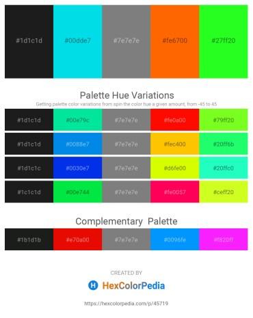 Palette image download - Black – Dark Turquoise – Gray – Orange Red – Lime