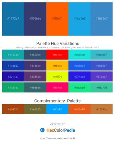 Palette image download - Dark Cyan – Dark Slate Blue – Orange Red – Dark Goldenrod – Steel Blue