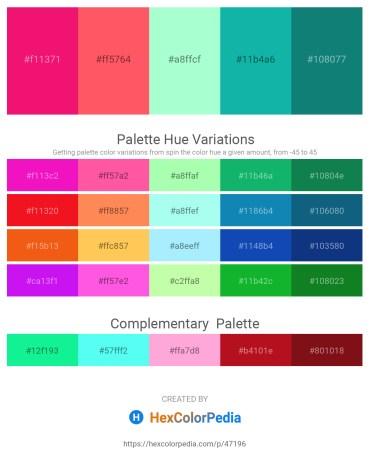 Palette image download - Deep Pink – Tomato – Aquamarine – Light Sea Green – Teal