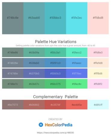 Palette image download - Slate Gray – Cadet Blue – Medium Turquoise – Turquoise – Misty Rose