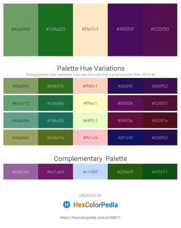 Palette image download - Dark Sea Green – Forest Green – Bisque – Midnight Blue – Purple