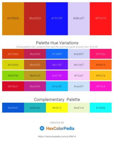 Palette image download - Dark Goldenrod – Firebrick – Blue – Lavender – Red