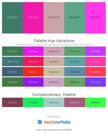 Palette image download - Sea Green – Deep Pink – Rosy Brown – Cadet Blue – Magenta
