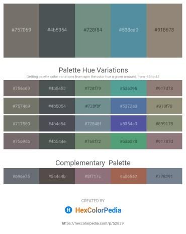Palette image download - Dim Gray – Dark Slate Gray – Slate Gray – Cadet Blue – Gray