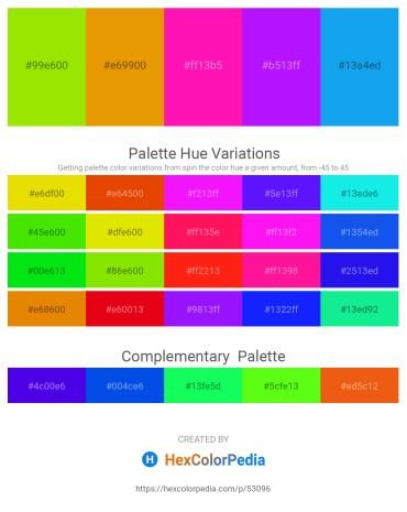 Palette image download - Chartreuse – Orange – Deep Pink – Dark Violet – Dodger Blue