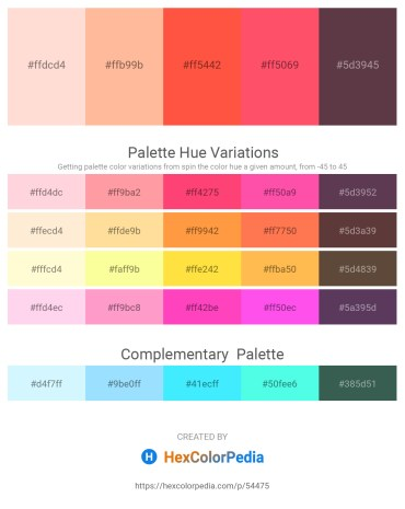 Palette image download - Misty Rose – Navajo White – Tomato – Tomato – Plum