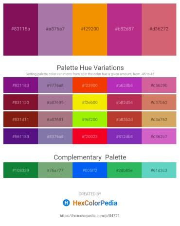 Palette image download - Purple – Rosy Brown – Dark Orange – Medium Violet Red – Indian Red