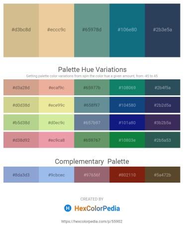 Palette image download - Tan – Pale Goldenrod – Cadet Blue – Teal – Dark Slate Gray