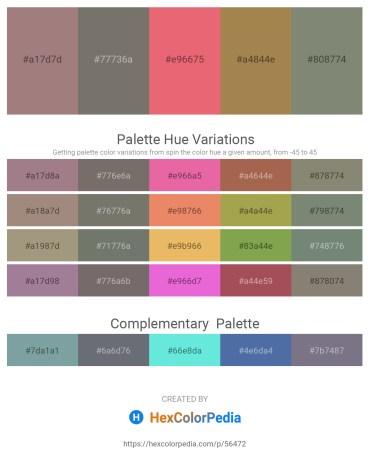 Palette image download - Rosy Brown – Dim Gray – Light Coral – Dark Khaki – Gray