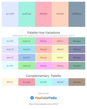 Palette image download - Alice Blue – Pale Turquoise – Light Pink – Peach Puff – Light Slate Gray