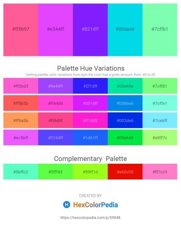 Palette image download - Hot Pink – Blue Violet – Dark Violet – Dark Turquoise – Aquamarine