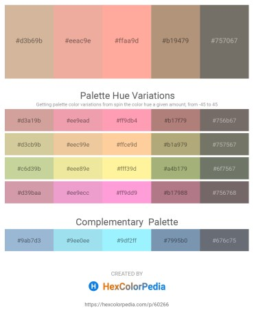 Palette image download - Tan – Dark Salmon – Light Pink – Rosy Brown – Dim Gray