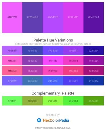 Palette image download - Hot Pink – Slate Blue – Medium Slate Blue – Blue Violet – Indigo