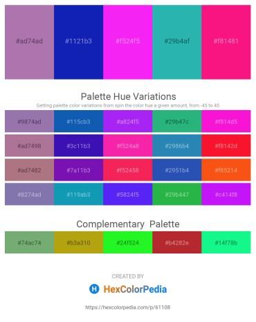 Palette image download - Rosy Brown – Medium Blue – Magenta – Light Sea Green – Deep Pink