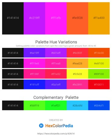 Palette image download - Black – Dark Violet – Magenta – Tomato – Orange
